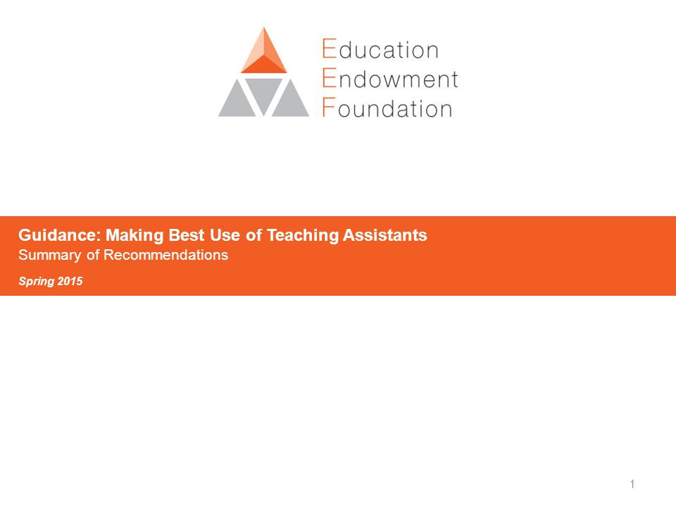 1 Guidance: Making Best Use of Teaching Assistants Summary of Recommendations Spring 2015