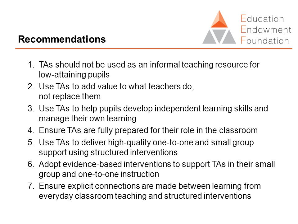 Recommendations 1.TAs should not be used as an informal teaching resource for low-attaining pupils 2.Use TAs to add value to what teachers do, not replace them 3.Use TAs to help pupils develop independent learning skills and manage their own learning 4.Ensure TAs are fully prepared for their role in the classroom 5.Use TAs to deliver high-quality one-to-one and small group support using structured interventions 6.Adopt evidence-based interventions to support TAs in their small group and one-to-one instruction 7.Ensure explicit connections are made between learning from everyday classroom teaching and structured interventions