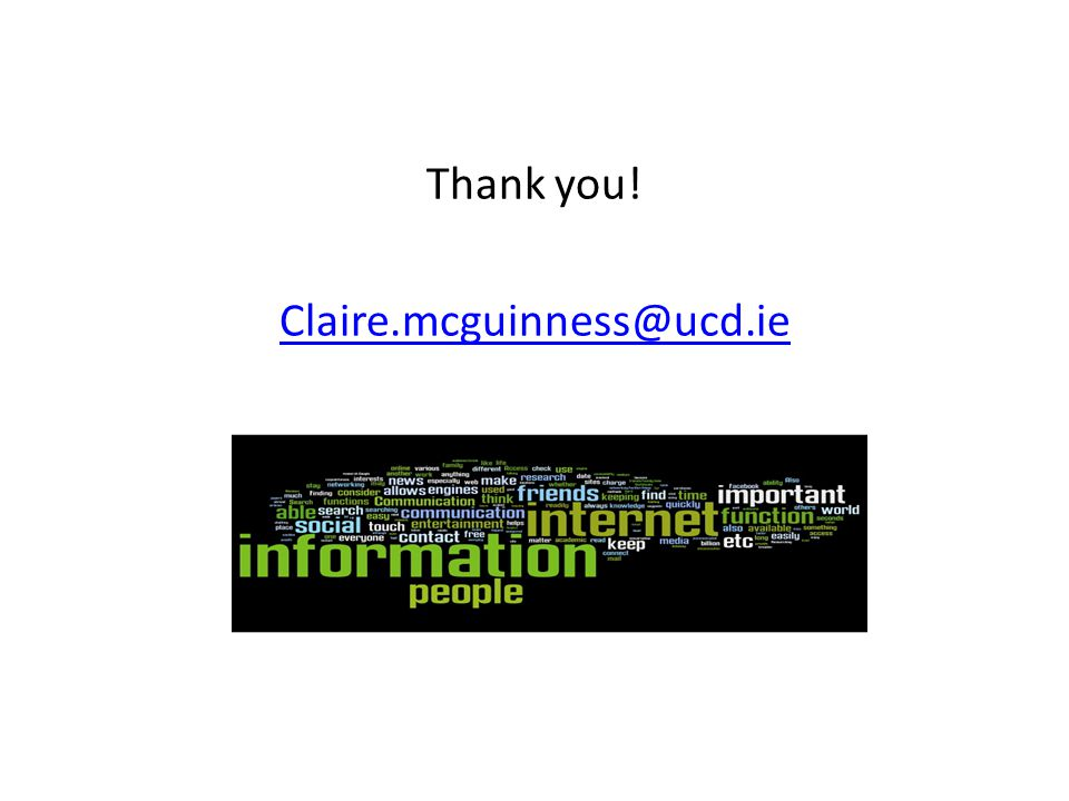 Thank you! Claire.mcguinness@ucd.ie