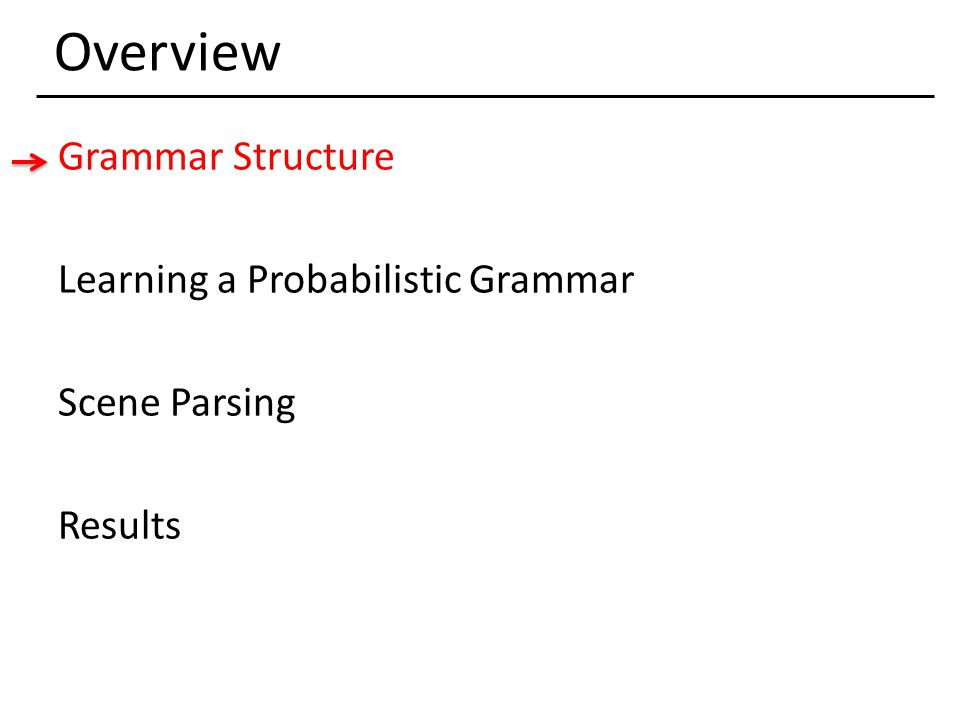 Overview Grammar Structure Learning a Probabilistic Grammar Scene Parsing Results