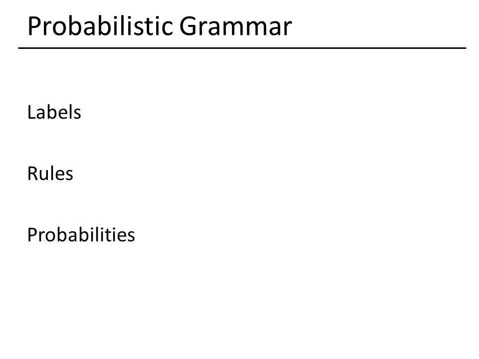 Probabilistic Grammar Labels Rules Probabilities