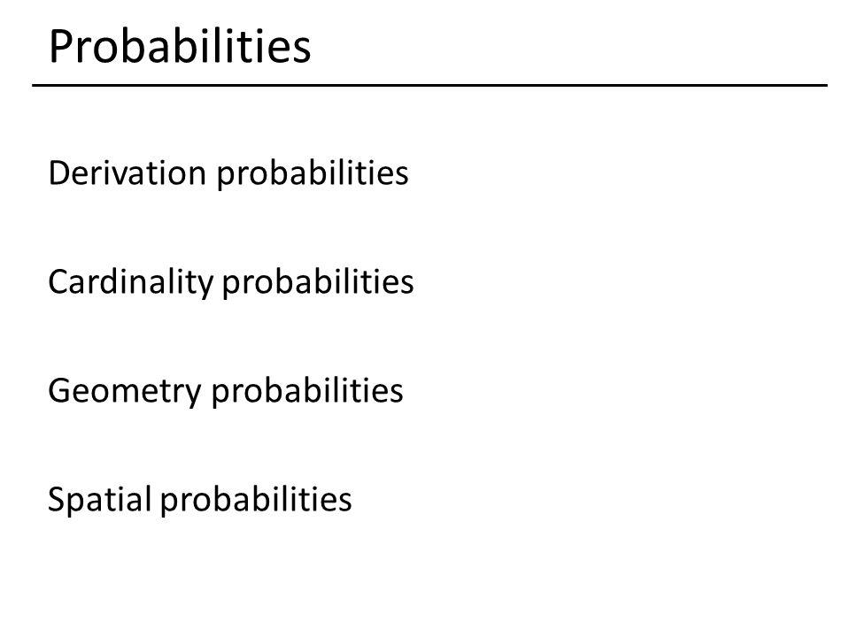 Probabilities Derivation probabilities Cardinality probabilities Geometry probabilities Spatial probabilities