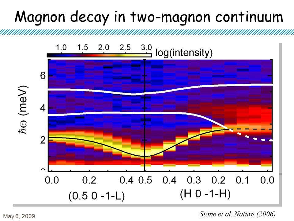 Magnon decay in two-magnon continuum Stone et al. Nature (2006) May 6, 2009