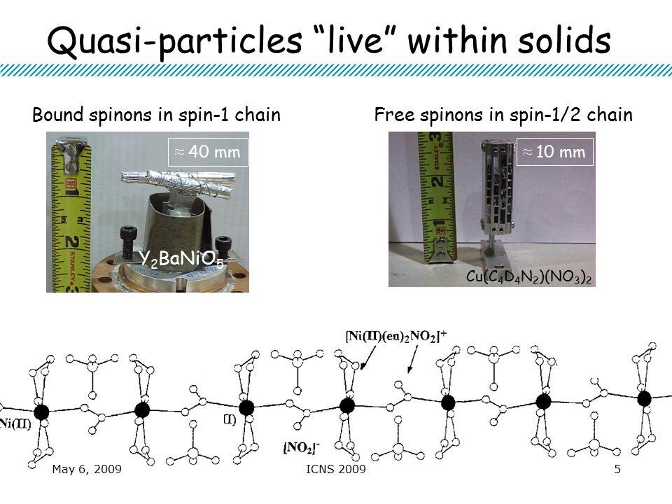 Quasi-particles live within solids Cu 2 (quinox) 2 Cl 4 ZnCr 2 O 4 Cu(C 4 D 4 N 2 )(NO 3 ) 2 Y 2 BaNiO 5 ≈ 40 mm ≈ 10 mm ≈ 0.1 mm Bound spinons in spin-1 chainFree spinons in spin-1/2 chain May 6, 20095ICNS 2009