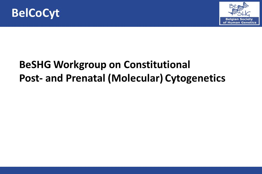 BelCoCyt BeSHG Workgroup on Constitutional Post- and Prenatal (Molecular) Cytogenetics