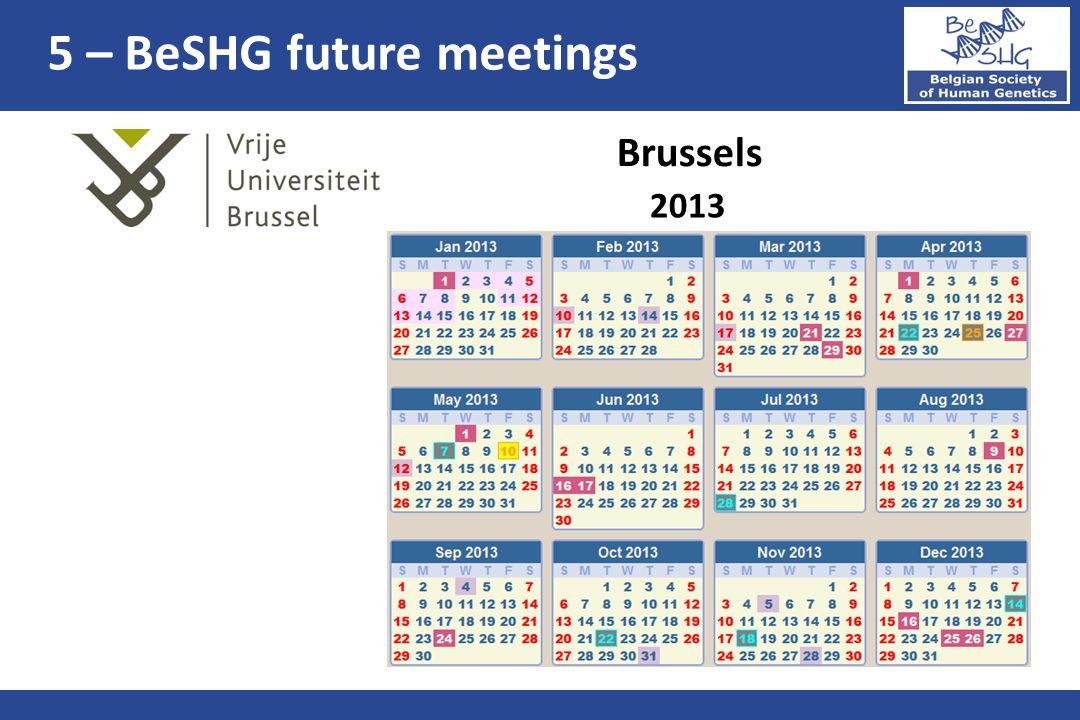 2013 Brussels 5 – BeSHG future meetings