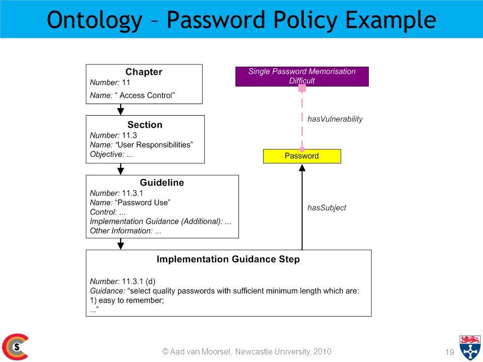 Ontology – Password Policy Example 19 © Aad van Moorsel, Newcastle University, 2010