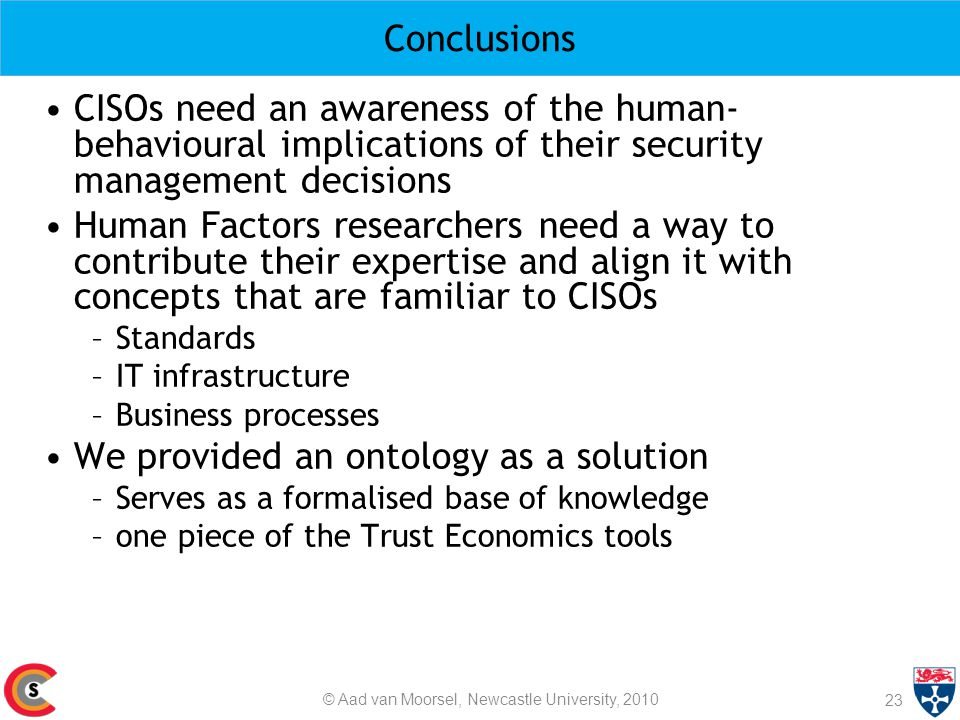 Conclusions 23 CISOs need an awareness of the human- behavioural implications of their security management decisions Human Factors researchers need a