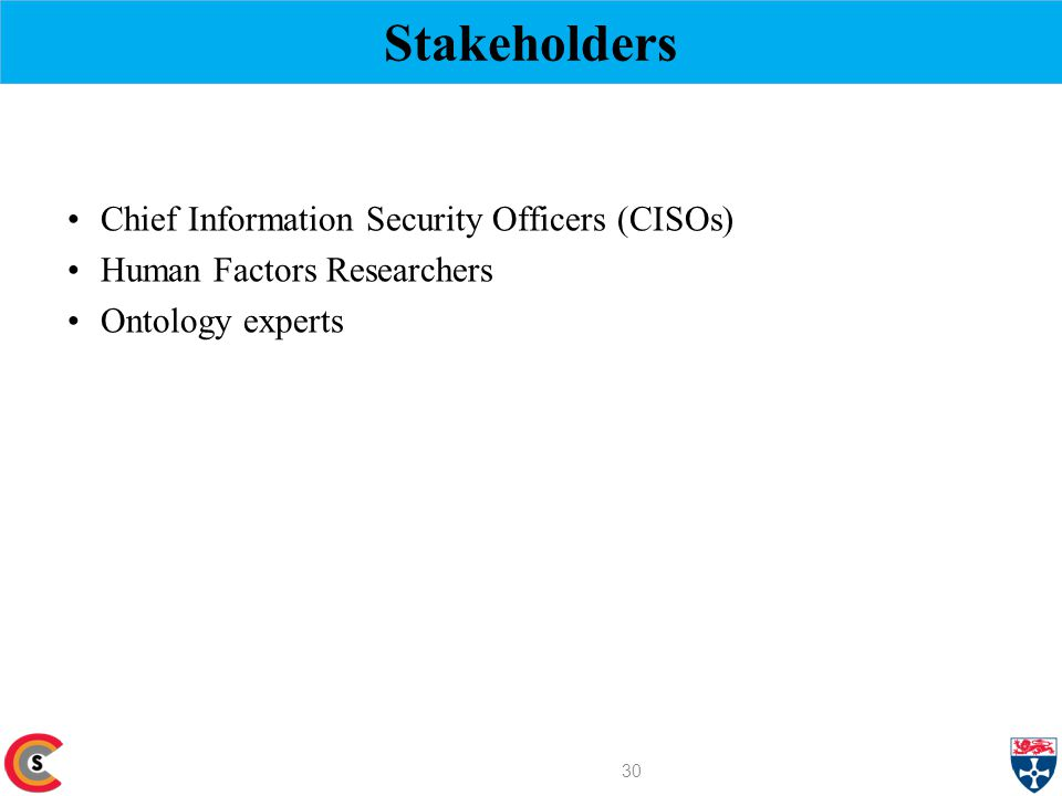Stakeholders Chief Information Security Officers (CISOs) Human Factors Researchers Ontology experts 30