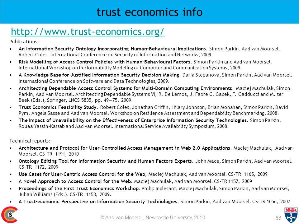 trust economics info http://www.trust-economics.org/ Publications: An Information Security Ontology Incorporating Human-Behavioural Implications. Simo