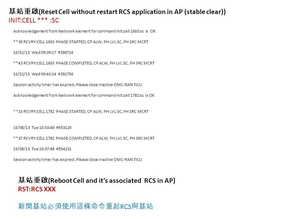 基站重啟 (Reset Cell without restart RCS application in AP (stable clear)) INIT:CELL *** :SC Acknowledgement from Network element for command init:cell 1603:sc is OK **39 RCVRY:CELL 1603 PHASE STARTED, CP ALW, PH LVL SC, PH SRC MCRT 10/02/13 Wed 09:39:17 #390716 **43 RCVRY:CELL 1603 PHASE COMPLETED, CP ALW, PH LVL SC, PH SRC MCRT 10/02/13 Wed 09:43:14 #391756 Session activity timer has expired.