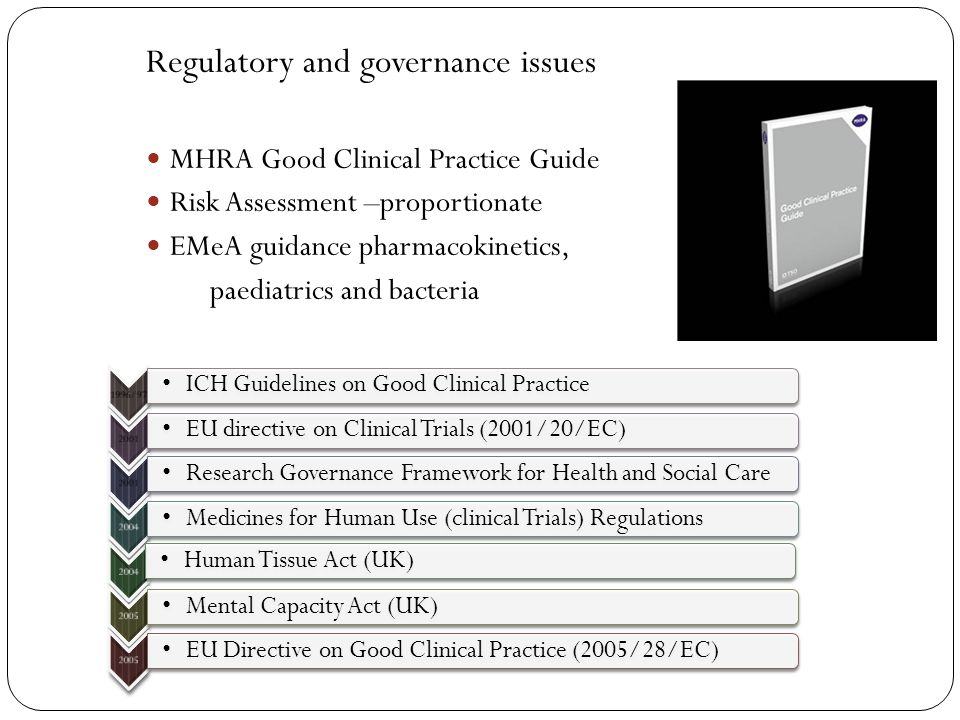 Regulatory and governance issues MHRA Good Clinical Practice Guide Risk Assessment –proportionate EMeA guidance pharmacokinetics, paediatrics and bact