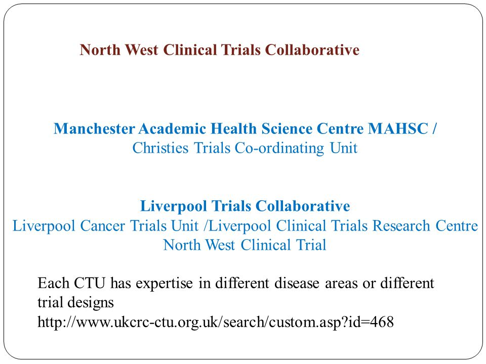 North West Clinical Trials Collaborative Manchester Academic Health Science Centre MAHSC / Christies Trials Co-ordinating Unit Liverpool Trials Collab