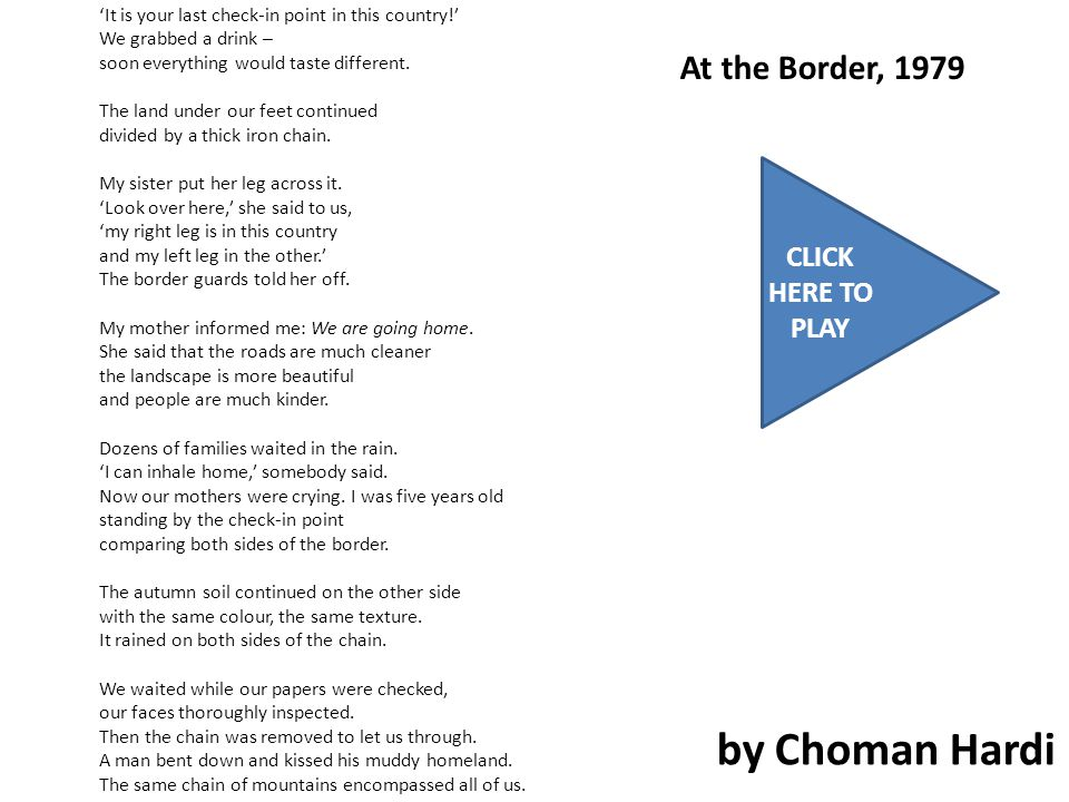 At the Border, 1979 by Choman Hardi 'It is your last check-in point in this country!' We grabbed a drink – soon everything would taste different.