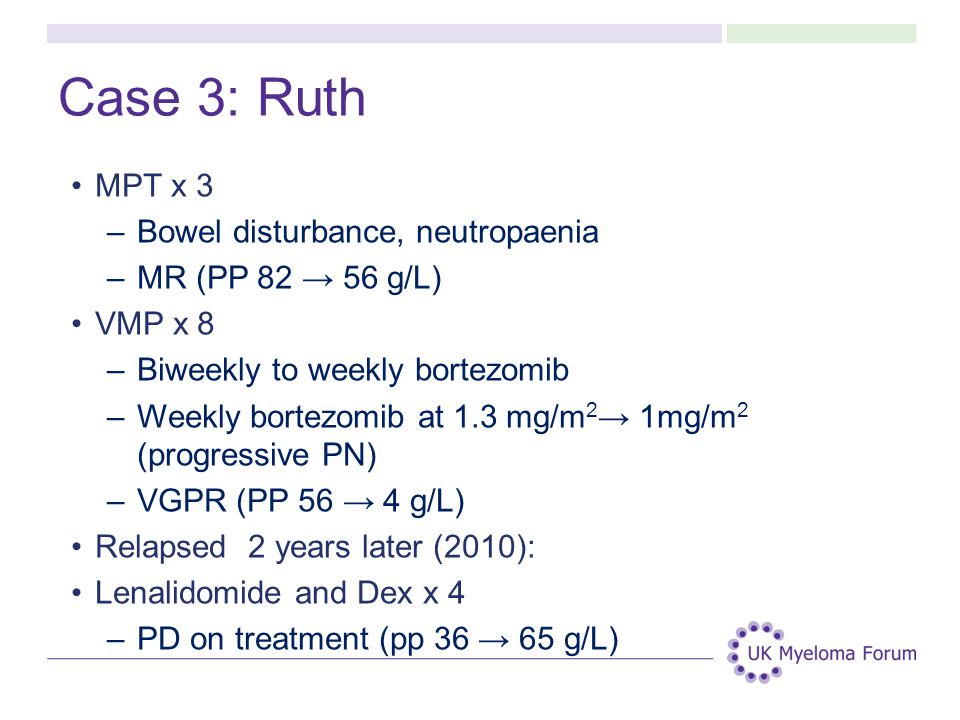 Case 3: Ruth MPT x 3 –Bowel disturbance, neutropaenia –MR (PP 82 → 56 g/L) VMP x 8 –Biweekly to weekly bortezomib –Weekly bortezomib at 1.3 mg/m 2 → 1mg/m 2 (progressive PN) –VGPR (PP 56 → 4 g/L) Relapsed 2 years later (2010): Lenalidomide and Dex x 4 –PD on treatment (pp 36 → 65 g/L)