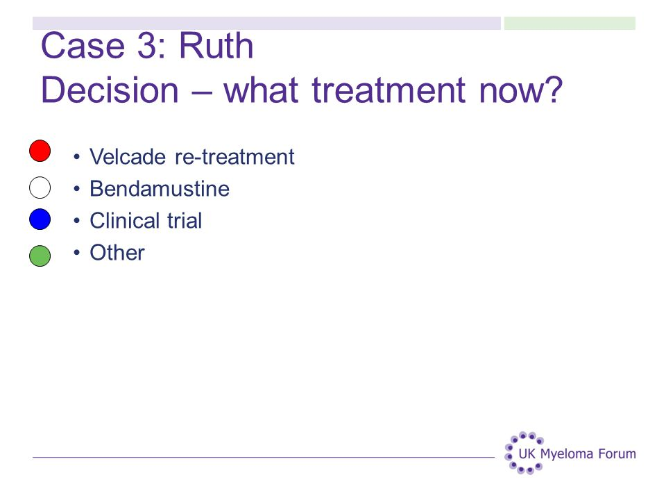 Case 3: Ruth Decision – what treatment now? Velcade re-treatment Bendamustine Clinical trial Other
