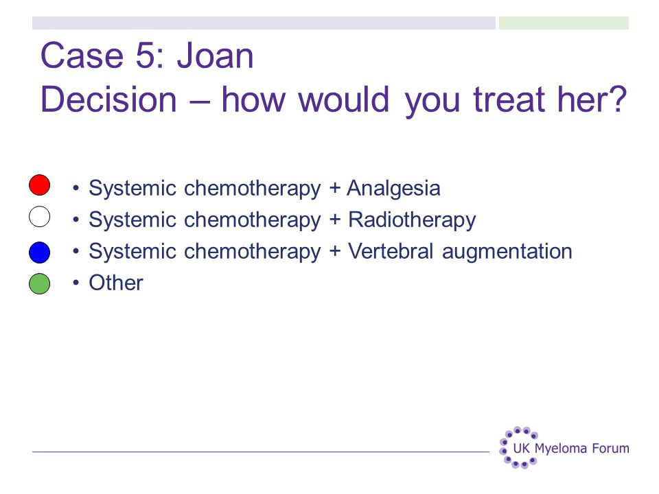 Case 5: Joan Decision – how would you treat her.