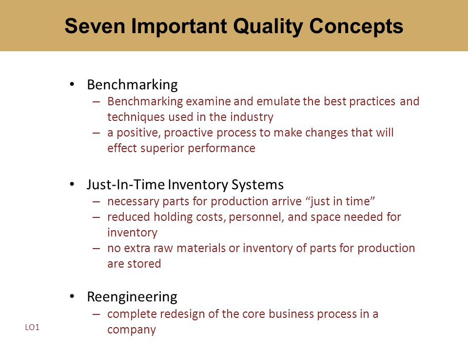 Benchmarking – Benchmarking examine and emulate the best practices and techniques used in the industry – a positive, proactive process to make changes