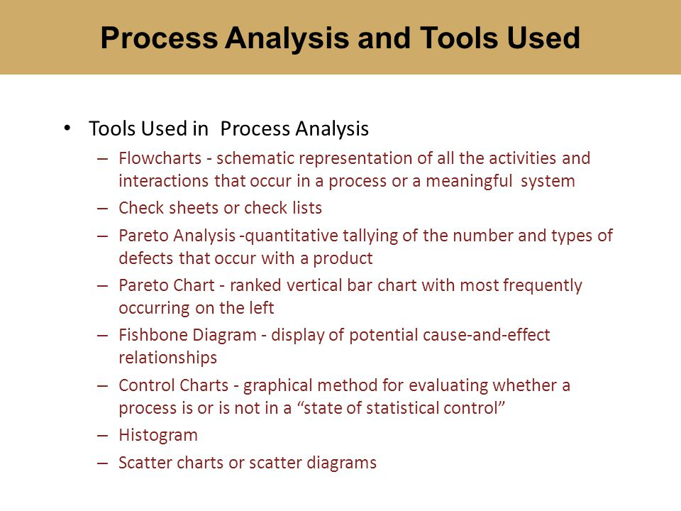 Tools Used in Process Analysis – Flowcharts - schematic representation of all the activities and interactions that occur in a process or a meaningful