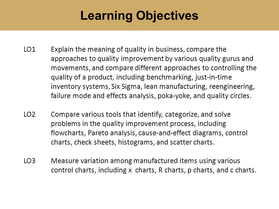 Learning Objectives LO1Explain the meaning of quality in business, compare the approaches to quality improvement by various quality gurus and movement