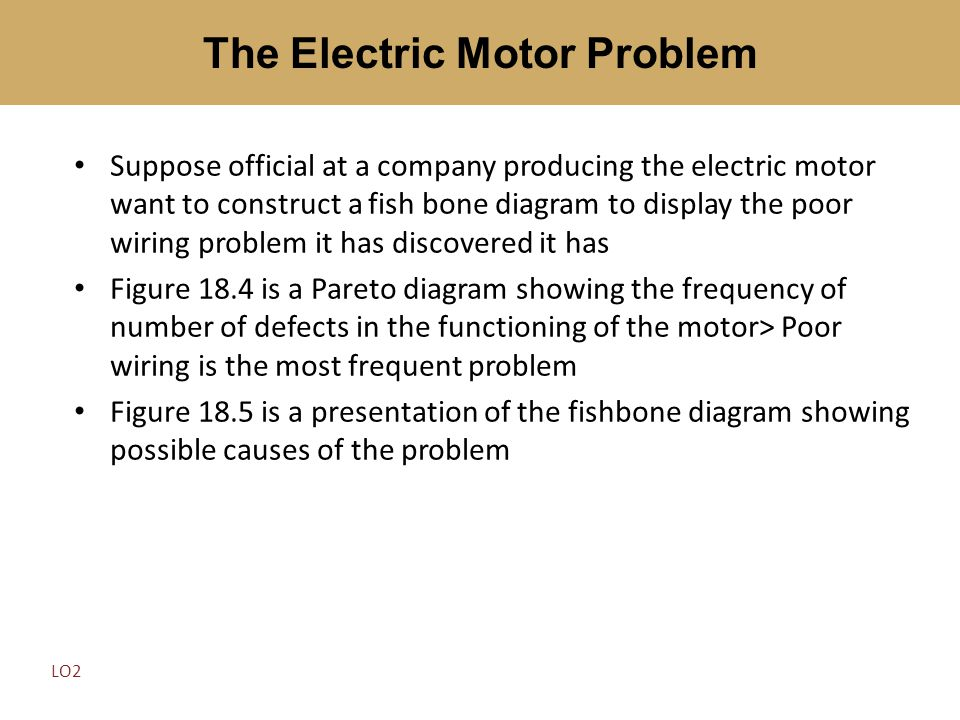 Suppose official at a company producing the electric motor want to construct a fish bone diagram to display the poor wiring problem it has discovered