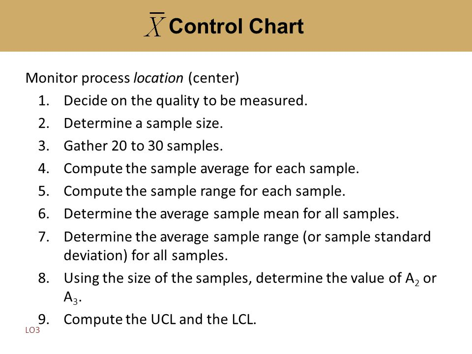 Monitor process location (center) 1.Decide on the quality to be measured. 2.Determine a sample size. 3.Gather 20 to 30 samples. 4.Compute the sample a
