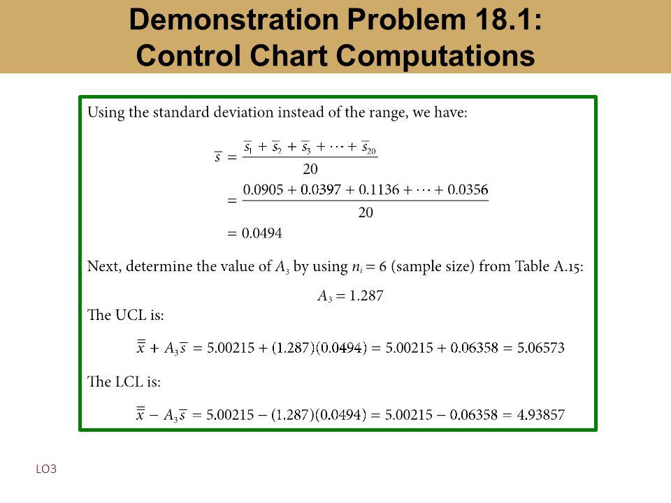 Demonstration Problem 18.1: Control Chart Computations LO3