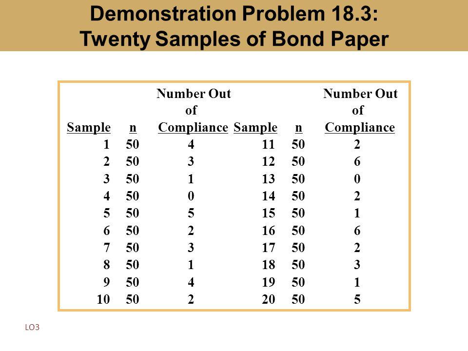 Demonstration Problem 18.3: Twenty Samples of Bond Paper Samplen Number Out of ComplianceSamplen Number Out of Compliance 150411502 2 312506 3 113500