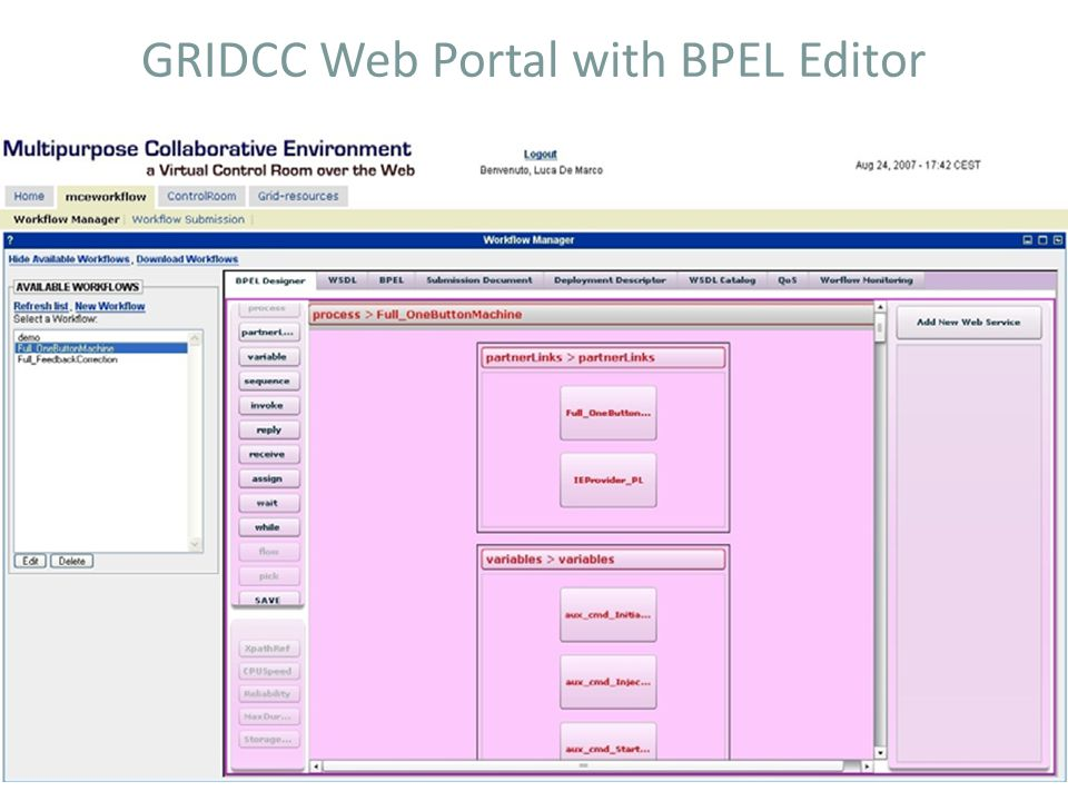 GRIDCC Web Portal with BPEL Editor
