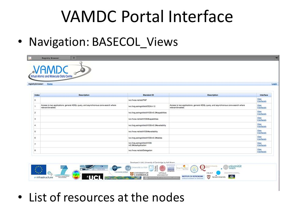 Navigation: BASECOL_Views List of resources at the nodes VAMDC Portal Interface