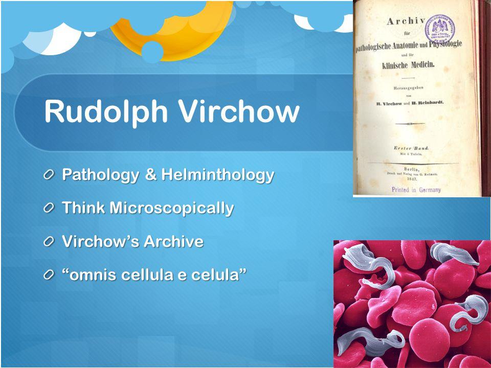 Rudolph Virchow Pathology & Helminthology Think Microscopically Virchow's Archive omnis cellula e celula