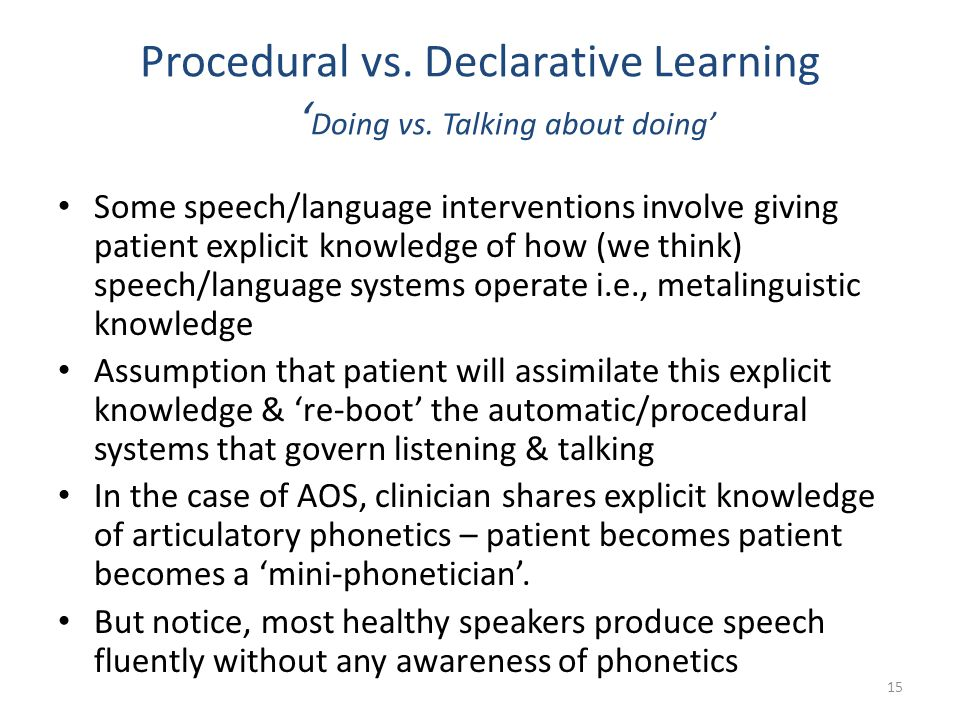 Procedural vs. Declarative Learning ' Doing vs. Talking about doing' Some speech/language interventions involve giving patient explicit knowledge of h