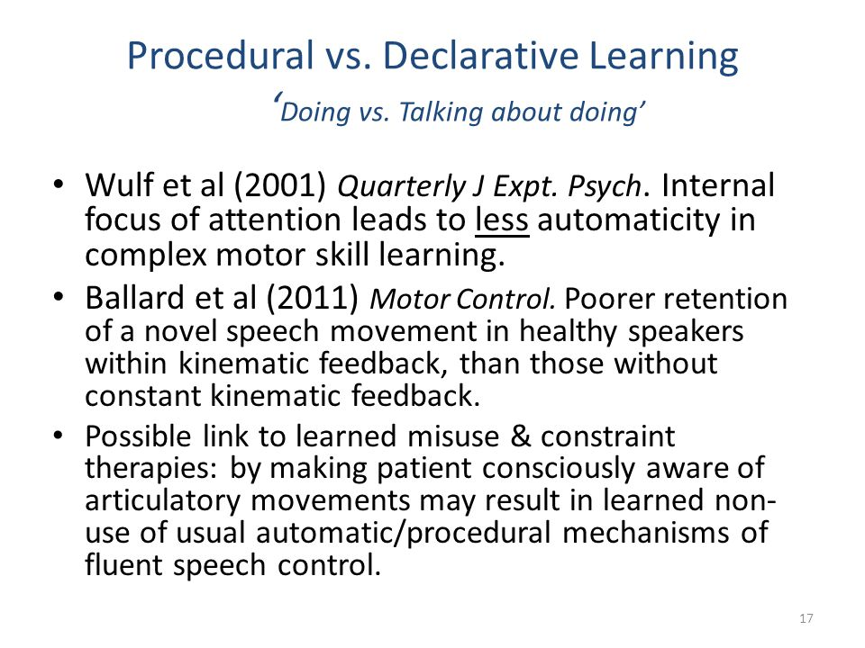 Procedural vs. Declarative Learning ' Doing vs. Talking about doing' Wulf et al (2001) Quarterly J Expt. Psych. Internal focus of attention leads to l