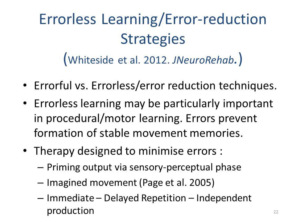 Errorless Learning/Error-reduction Strategies ( Whiteside et al. 2012. JNeuroRehab.) Errorful vs. Errorless/error reduction techniques. Errorless lear