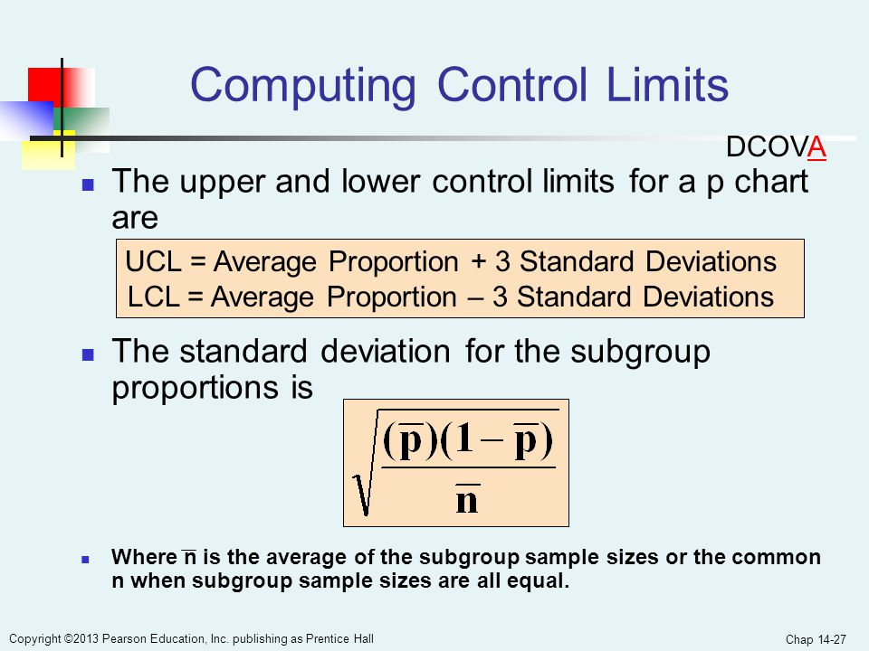 Chap 14-27 Copyright ©2013 Pearson Education, Inc. publishing as Prentice Hall Computing Control Limits The upper and lower control limits for a p cha