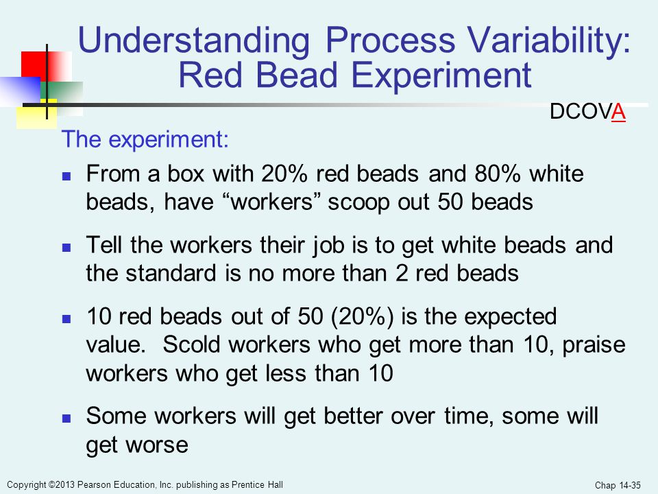 Chap 14-35 Copyright ©2013 Pearson Education, Inc. publishing as Prentice Hall Understanding Process Variability: Red Bead Experiment The experiment: