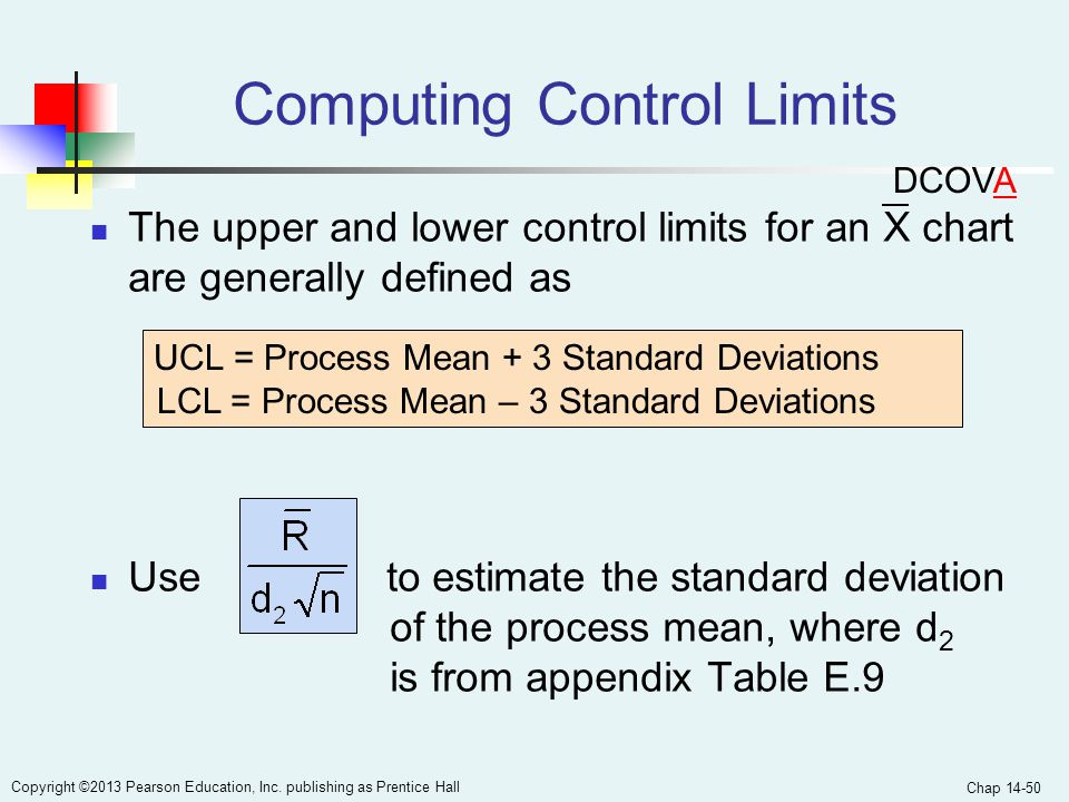 Chap 14-50 Copyright ©2013 Pearson Education, Inc. publishing as Prentice Hall Computing Control Limits The upper and lower control limits for an X ch
