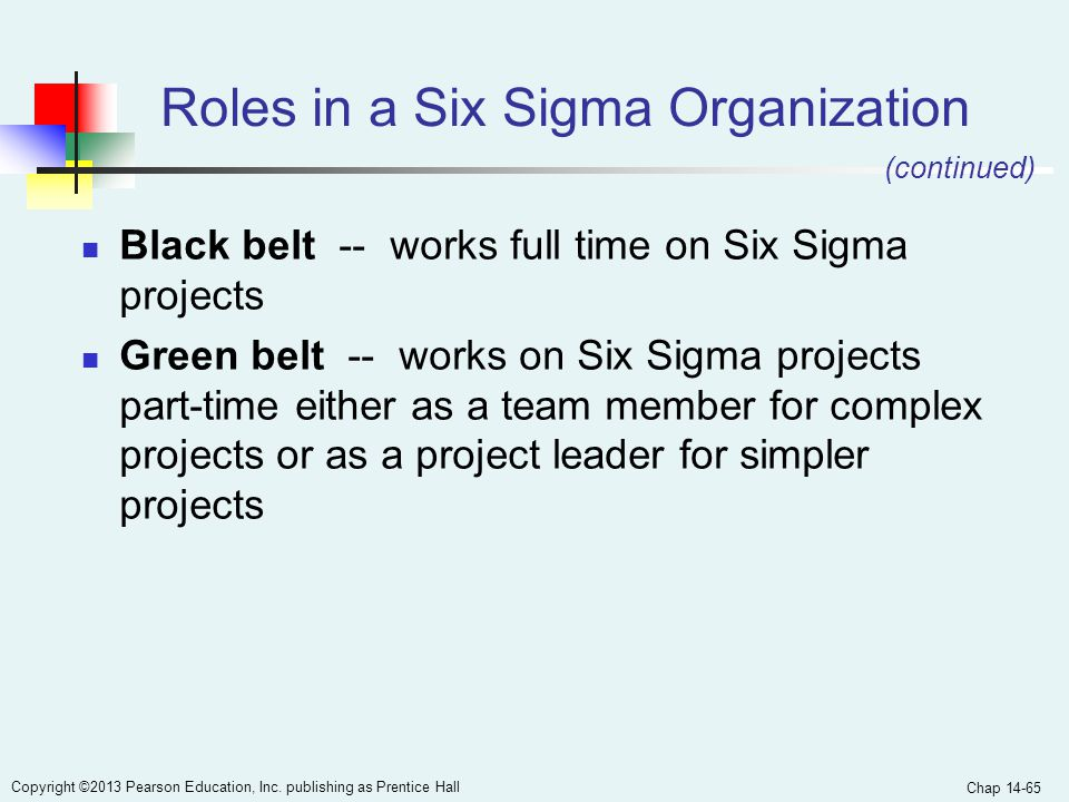 Chap 14-65 Copyright ©2013 Pearson Education, Inc. publishing as Prentice Hall Roles in a Six Sigma Organization Black belt -- works full time on Six