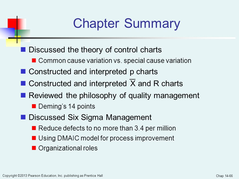 Chap 14-66 Copyright ©2013 Pearson Education, Inc. publishing as Prentice Hall Chapter Summary Discussed the theory of control charts Common cause var