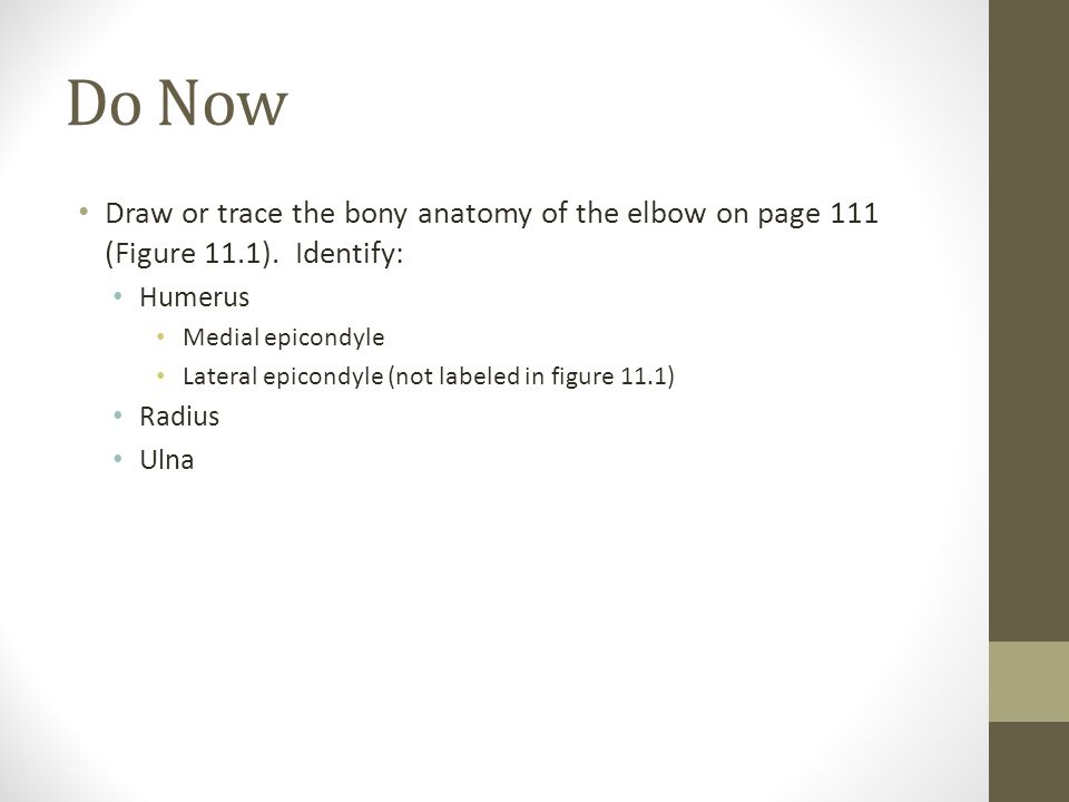 Do Now Draw or trace the bony anatomy of the elbow on page 111 (Figure 11.1).