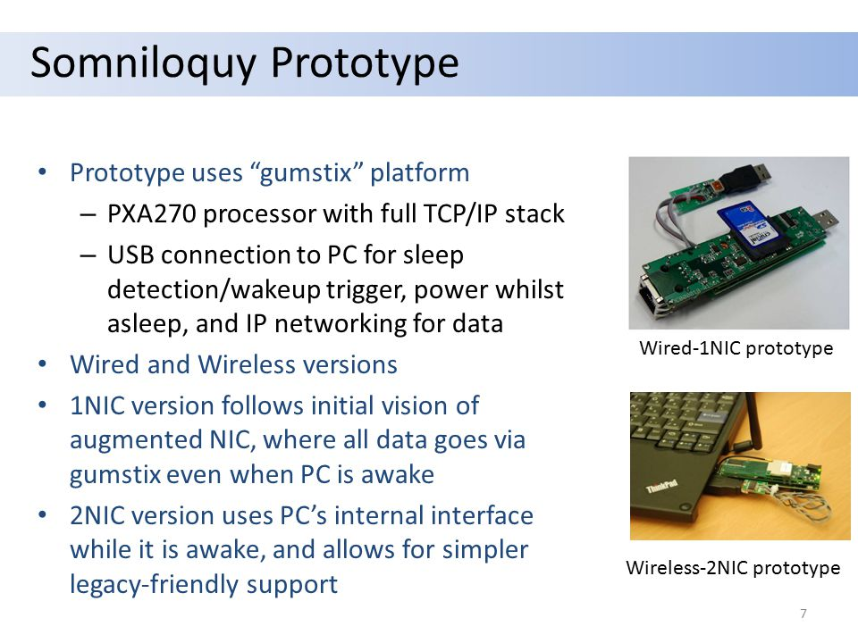 """Somniloquy Prototype Prototype uses """"gumstix"""" platform – PXA270 processor with full TCP/IP stack – USB connection to PC for sleep detection/wakeup tri"""