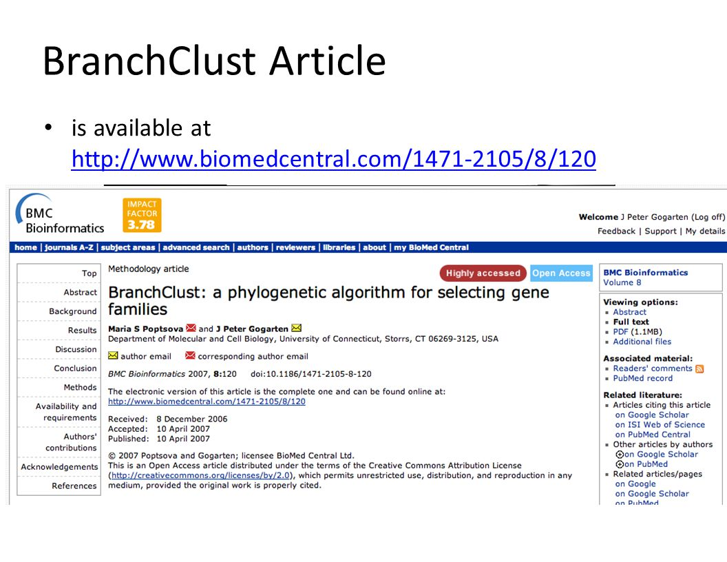 BranchClust Article is available at http://www.biomedcentral.com/1471-2105/8/120 http://www.biomedcentral.com/1471-2105/8/120