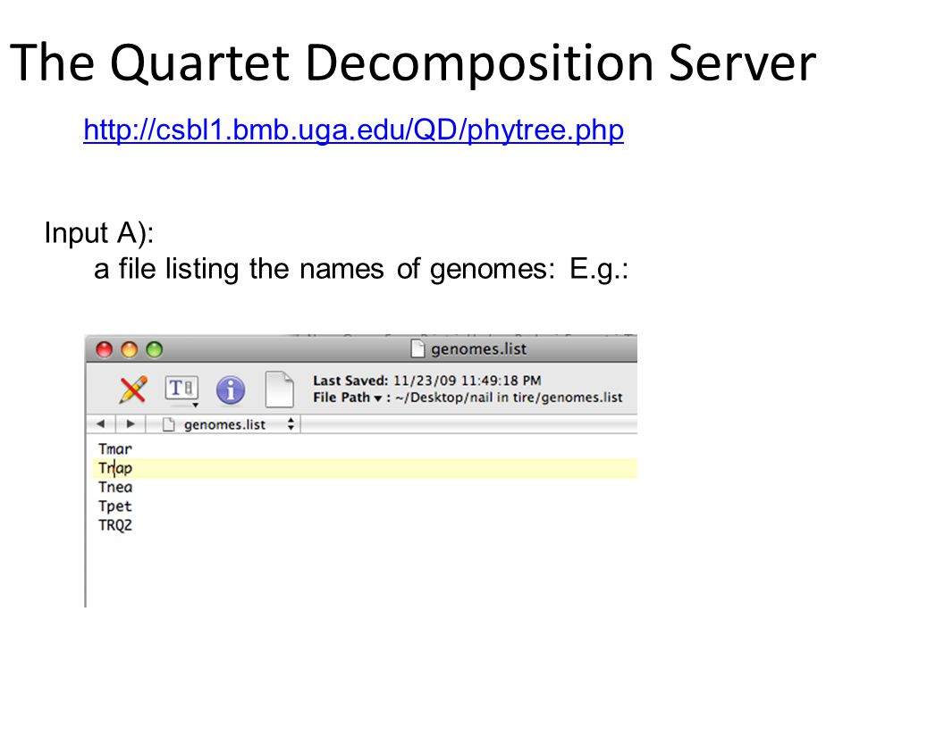 The Quartet Decomposition Server http://csbl1.bmb.uga.edu/QD/phytree.php Input A): a file listing the names of genomes: E.g.: