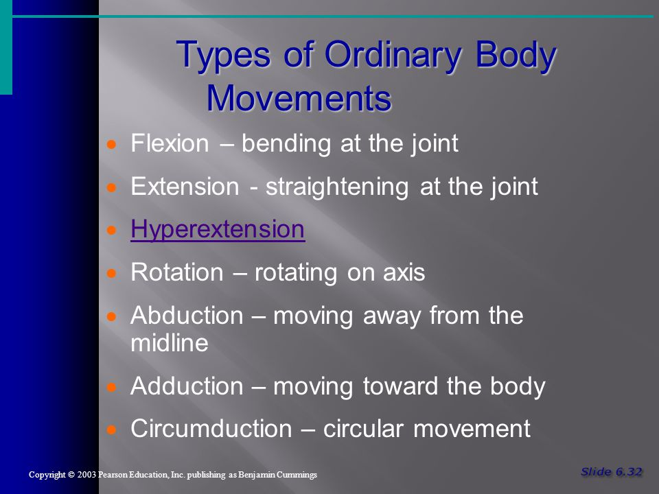 Types of Ordinary Body Movements Copyright © 2003 Pearson Education, Inc.
