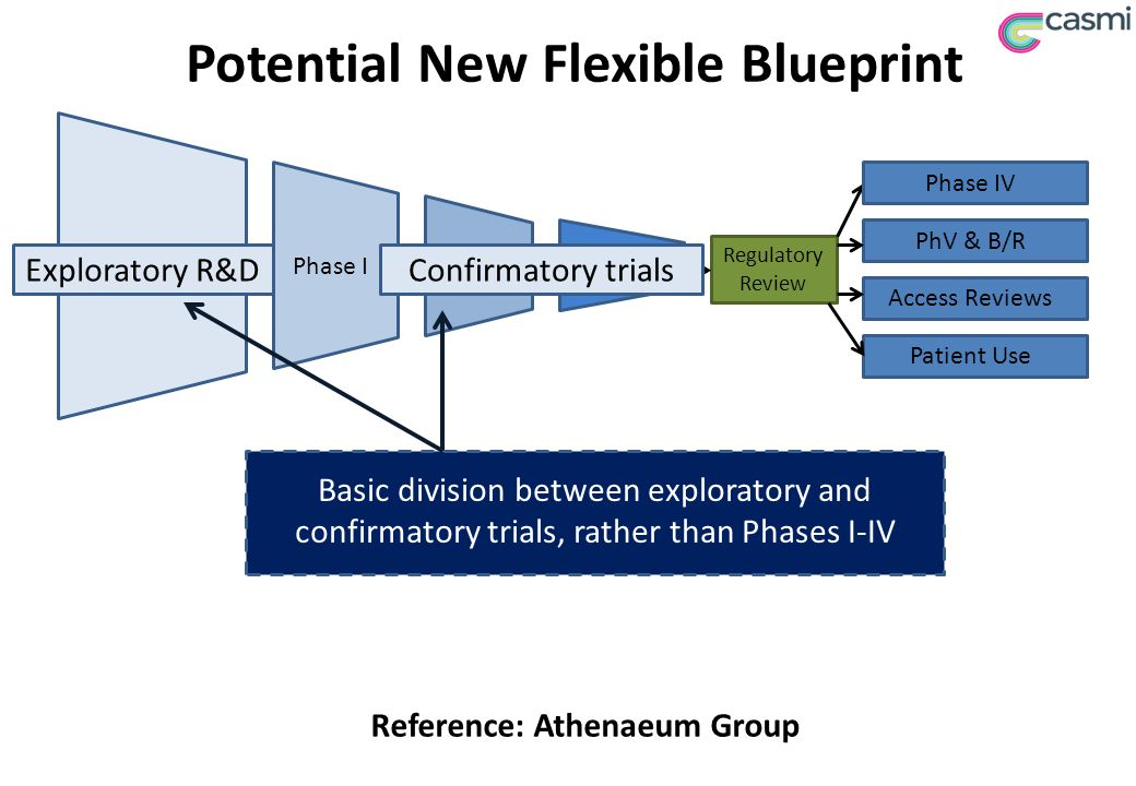 Potential New Flexible Blueprint Regulatory Review Access Reviews Patient Use PhV & B/R Preclinical Phase IPhase 2Phase 3 Phase IV Reference: Athenaeum Group Exploratory R&DConfirmatory trials Basic division between exploratory and confirmatory trials, rather than Phases I-IV