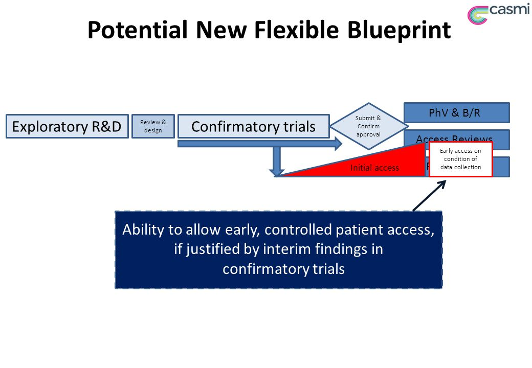 Potential New Flexible Blueprint Exploratory R&DConfirmatory trials Review & design Access Reviews Patient Use PhV & B/R Ability to allow early, controlled patient access, if justified by interim findings in confirmatory trials Submit & Confirm approval Initial access Early access on condition of data collection
