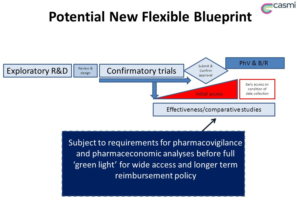 Potential New Flexible Blueprint Exploratory R&DConfirmatory trials Review & design PhV & B/R Submit & Confirm approval Initial access Early access on condition of data collection Subject to requirements for pharmacovigilance and pharmaceconomic analyses before full 'green light' for wide access and longer term reimbursement policy Effectiveness/comparative studies