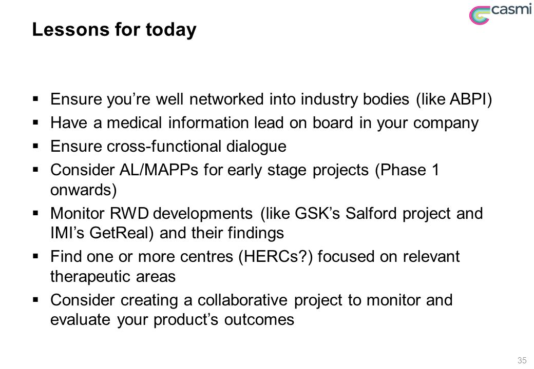 Lessons for today  Ensure you're well networked into industry bodies (like ABPI)  Have a medical information lead on board in your company  Ensure