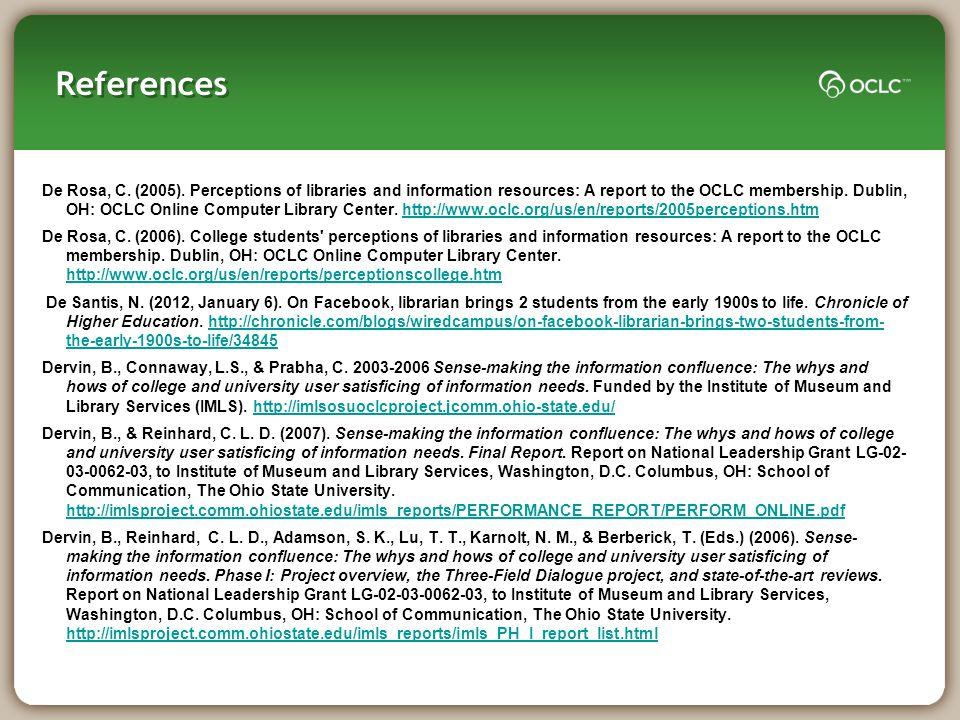 References De Rosa, C. (2005).