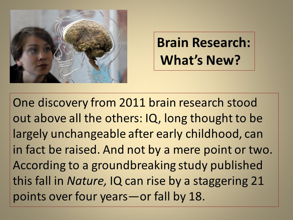 One discovery from 2011 brain research stood out above all the others: IQ, long thought to be largely unchangeable after early childhood, can in fact be raised.